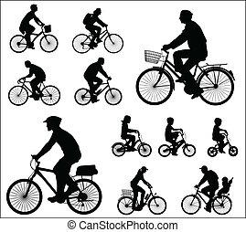 silhuetter, cyklister