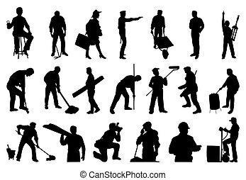 silhuetter, i, arbejder, folk., en, vektor, illustration