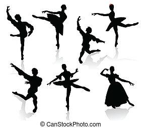 silhuetter, i, ballerinaer, og, dans