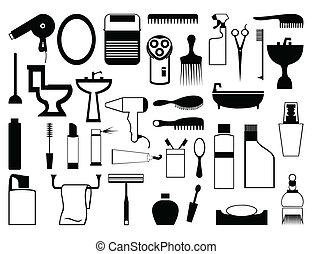 silhuetter, i, emnerne, af, en, bathroom., en, vektor, illustration