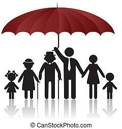 silhuetter, i, familie, under, paraply, afdækket