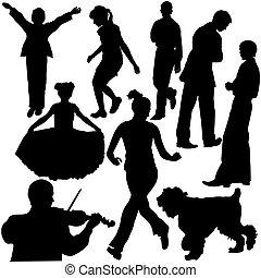 silhuetter, i, folk ind, forskellige, situationer, (vector)