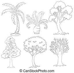 silhuetter, i, træer