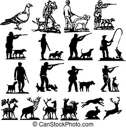 silhuetter, jagt, samling