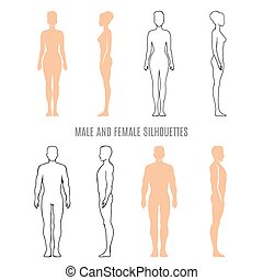 silhuetter, mandlig, kvindelig