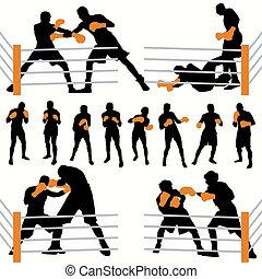 silhuetter, sæt, boksere