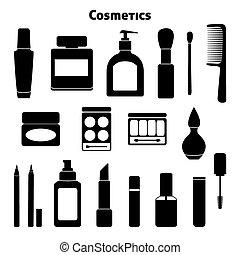 silhuetter, sæt, kosmetik