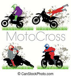 silhuetter, sæt, motocross