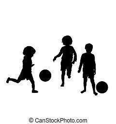 silhuetter, soccer, børn