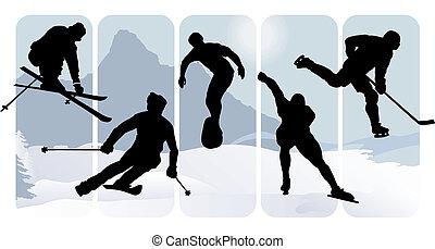 silhuetter, sport, vinter