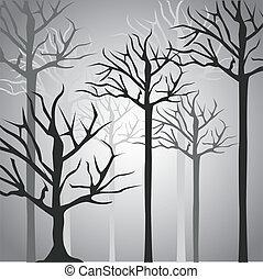 silhuetter, træ trunk