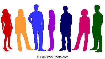 silhuetter, unge, farverig, folk