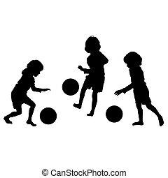 silhuetter, vektor, soccer, børn