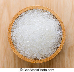 Silica gel in wood bowl