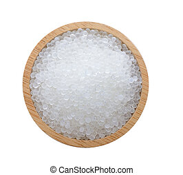 Silica gel in wood on white background