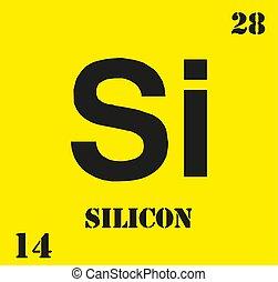 silicio, ilustración, químico, si, vector, element.