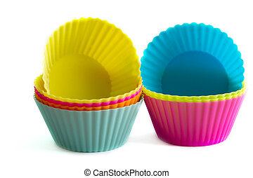 silicium, coloré, moules, petit gâteau