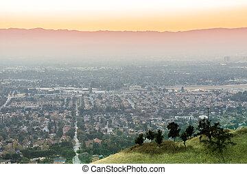 silicium, sunset., air, vallée, pollué