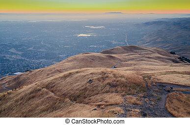 silicium, sur, vallée, coucher soleil