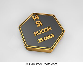 Silicon - Si - chemical element periodic table hexagonal shape 3d illustration
