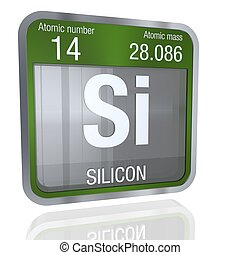 Silicon symbol  in square shape with metallic border and transparent background with reflection on the floor. 3D render. Element number 14 of the Periodic Table of the Elements - Chemistry