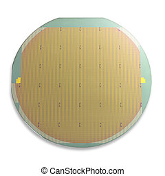 green and gold silicon wafer, isolated with shadow and clipping path