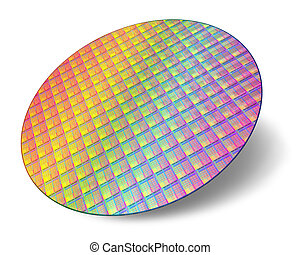 Silicon wafer with processor cores isolated on white ...