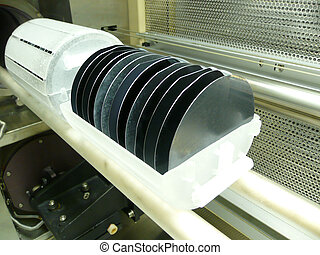 Silicon Wafers - A boat of silicon wafers ready for...