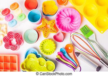 silicone, arco íris, untersils, confectionery