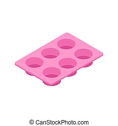 Silicone form for cooking muffin and cupcake isolated....