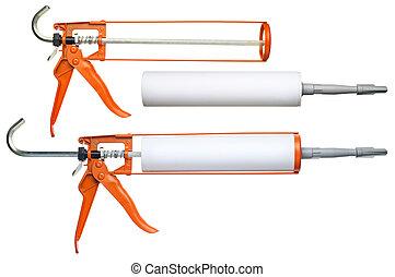 Silicone gun - Silicone glue gun, isolated on white