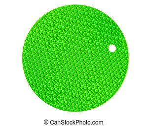 silicone, isolement, plats, couleur, chaud, arrière-plan vert, tampon, blanc