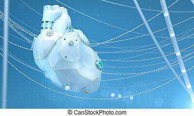 silikon, weißes, menschliche , künstlich, herz, robotic, langlebigkeit, biotech, -, wires., intern, technologie, glühen, medizin, ersatz, organ, 3d, illustration., zubehörteil, begriff, plastik