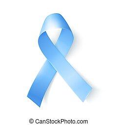 Silk blue ribbon over white background. Realistic medical symbol for prostate cancer awareness month in november.