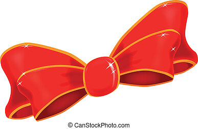 Silk Bow - A brightly colored silk ribbon bow isolated on...