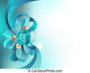 Silk bow with a turquoise rose - Turquoise silk bow with a...