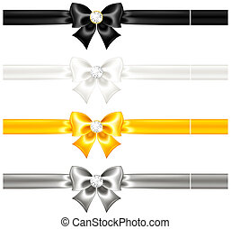 Vector illustration - silk bows black and gold with diamonds and ribbons. EPS 10, RGB. Created with gradient mesh and blending modes.