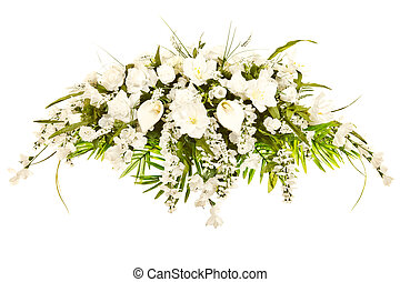 Silk casket cover funeral flower arrangement