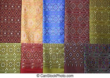 silk fabric cloth background - pieces of colorful praewa ...