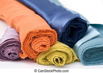 Colorful silk fabric rolls