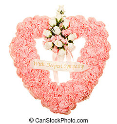 Silk funeral flower arrangement in heart design