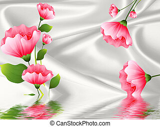 Silk gray background, large pink fabulous flowers, reflected in water