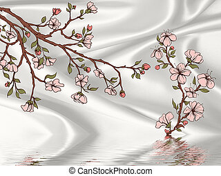 Silk gray background, painted flowering branches, reflected in water