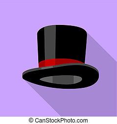 Silk hat icon, flat style