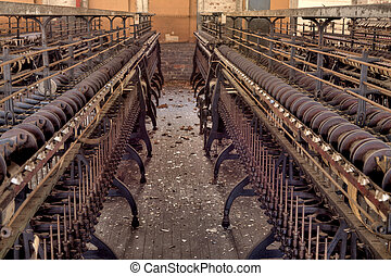 Silk mill factory - Urbex - Textile industry: Row of looms...