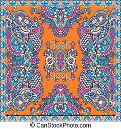 silk neck scarf or kerchief square pattern design in ukrainian style for print on fabric, vector illustration