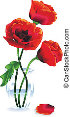 Silk red flowers (poppies) in a glass vase