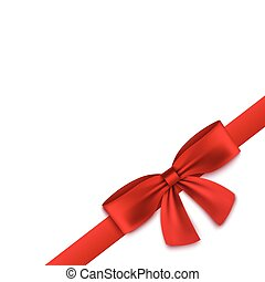 Silk red realistic ribbon tied into bow in corner of blank white square banner