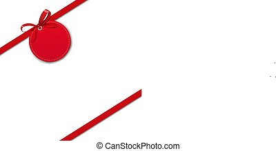 Silk Red Ribbon Border Isolated White Background