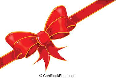 Silk Ribbon Bow - A silk ribbon tied into a bow wirh ...